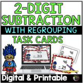 2-Digit Subtraction WITH regrouping (Superhero theme) Task Cards