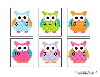 Subtraction War Card Game - Owl Themed