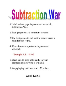 Subtraction War Card Game Directions for First Grade Math Centers