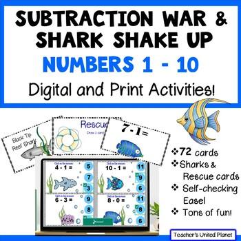 Subtraction Games - Subtraction War! Numbers 1-10