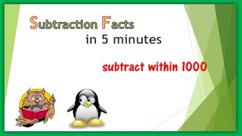 Subtraction Warm-up in Five Minutes – subtract within 1000