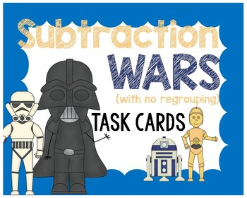 Subtraction Wars (without regrouping) Task Cards #2