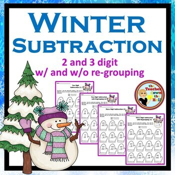 Subtraction (2 and 3 Digit) - Color the Difference - Winter