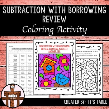 Subtraction With Borrowing Review Coloring Activity
