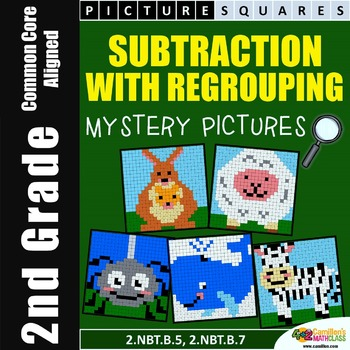 Subtraction (Regrouping) Mystery Pictures Sheets, 2nd Grade Math Centers