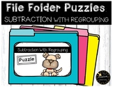 Double Digit Subtraction With Regrouping Game File Folder Puzzles Pet Theme