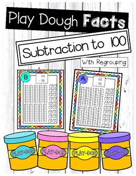 Subtraction With Regrouping Play Dough Task Cards