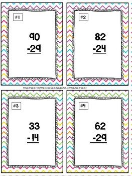 Easter Themed Subtraction With Regrouping Task Cards & Game 2.NBT.5