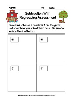 Back to School Themed Subtraction With Regrouping Task Cards & Game 2.NBT.5