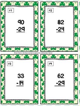 Subtraction With Regrouping Task Cards & Game (March Themed)