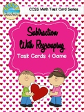 2-Digit Subtraction With Regrouping Task Cards & Game (Valentine's Day)