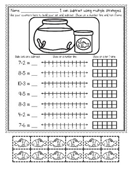 Subtraction With Ten Frames, Number Lines, Pictures and MORE