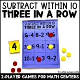 Subtraction Within 10 - 3 in a Row Games - Kindergarten Ma