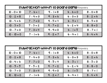 Subtraction Within 10 Board Game with Answer Sheet