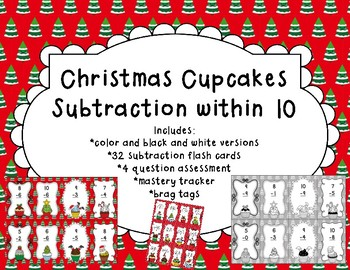 Subtraction Within 10 Christmas Cupcakes
