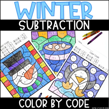 Winter-Themed Subtraction Within 10 Color By Number