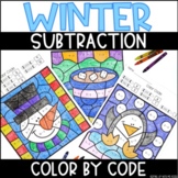 Winter Subtraction Within 10 | No Prep Color By Number Activities