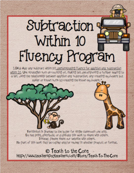 1st Grade Subtraction Within 10 Fluency Program - Master the Math Facts 1.OA.C.6