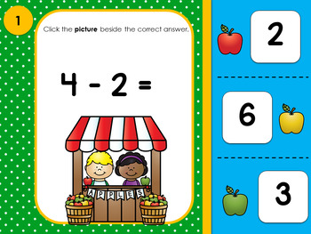 Subtraction Within 10  Interactive PowerPoint Self Correcting  Grade 1