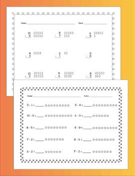Subtraction Within 10 Practice Pages (30 p.) / CCSS - Aligned