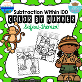 Subtraction Within 100 Color By Number Activities {safari}