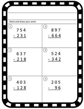 Subtraction Within 1,000 Quiz Test Diagnostic {CCSS 3.NBT.A.2}
