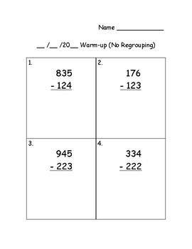 Subtraction Within 1000 Warm-ups