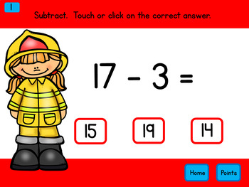 Subtraction Within 20 Firefighters Self-Correcting PowerPoint