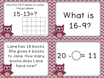 Subtraction Within 20 Common Core Aligned Task Cards