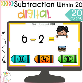 Subtraction Within 20 Digital Task Cards