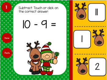 Subtraction Within 20 Elf and Reindeer for Google Classroom™ and Google Slides™