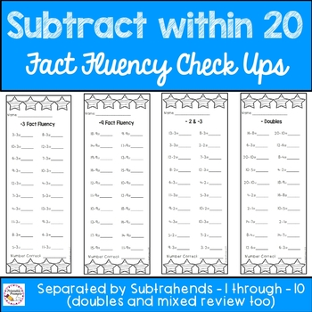 Subtraction Within 20 Fact Checkups