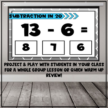 Subtraction Within 20 Fact Interactive PDF