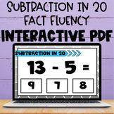 Subtraction Within 20 Fact Interactive PDF and Boom Cards