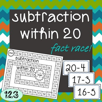 Subtraction Within 20 - Fact Race Game