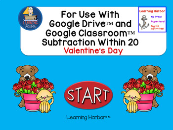 Subtraction Within 20 Valentine Day Kids for Google Classroom™