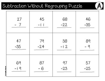 Subtraction Without Regrouping File Folder Puzzles Surfing Theme