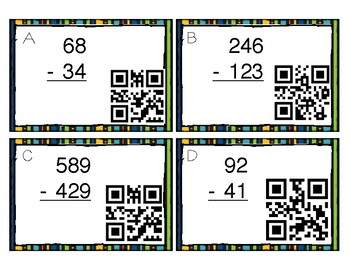 QR Code Subtraction Without Regrouping Task Cards