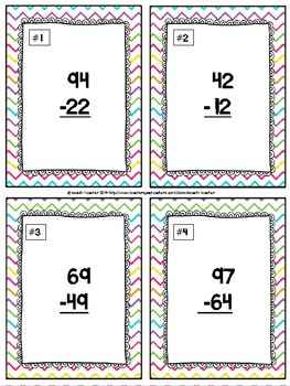 Subtraction Without Regrouping Task Cards & Game