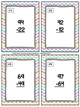 Easter Themed Subtraction Without Regrouping Task Cards & Game 2.NBT.5
