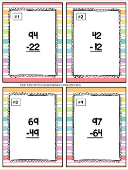 Subtraction Without Regrouping Task Cards & Game (Summer) 2.NBT.5