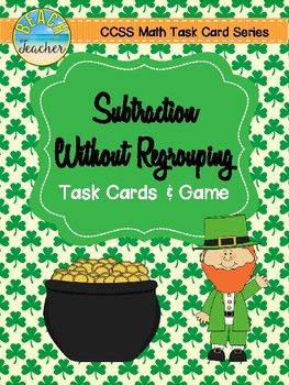 Subtraction Without Regrouping Task Cards & Game (March Themed)