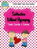 2-Digit Subtraction Without Regrouping Task Cards & Game (Valentine's Day)