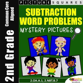 Subtraction Word Problems Mystery Pictures Activity (One S
