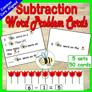 Subtraction Word Problems Kindergarten or First Grade