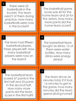 Subtraction Word Problem Math Task Cards:Basketball Edition