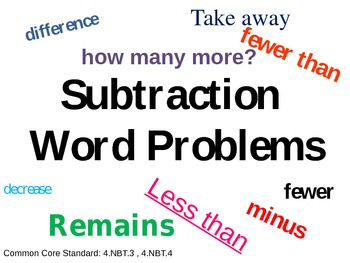 Subtraction Word Problem Powerpoint