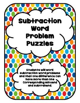 Subtraction Word Problem Puzzles
