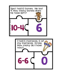 Subtraction Word Problem Puzzles
