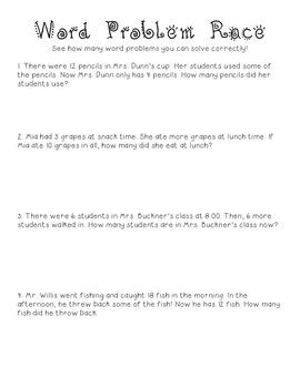Subtraction Word Problem Race